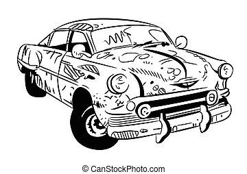 Cartoon image of broken down car cartoon