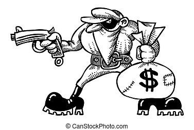 Cartoon image of burglar with loot bag