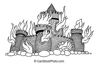 Cartoon image of burning castle