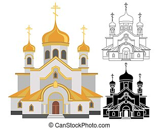 Cartoon image of christian church with gold design line and shape art