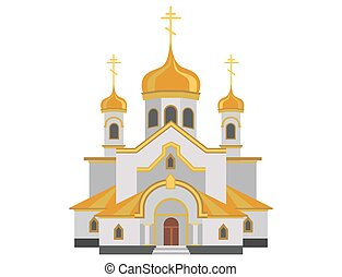 Cartoon image of christian church with gold design
