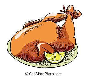 Cartoon image of cooked turkey. An artistic freehand...