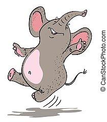 Cartoon image of dancing elephant