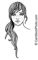 Cartoon image of female face
