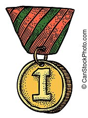 Cartoon image of first place medal