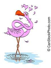 Cartoon image of flamingo in love