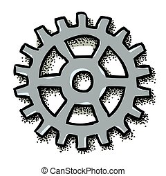 Cartoon image of Gear Icon, Flat vector illustration