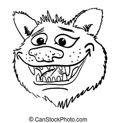 Cartoon image of grinning wolf face. An artistic freehand picture.