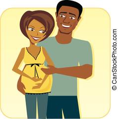 Cartoon image of Happy Pregnant Couple - Cartoon image of...