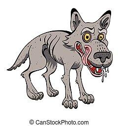 Cartoon image of hungry wolf