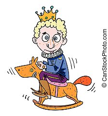 Cartoon image of idiot prince. An artistic freehand picture.