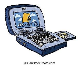 Cartoon image of laptop computer
