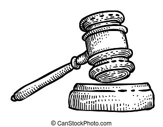 Cartoon image of Law Icon. Judge Gavel symbol. An artistic...