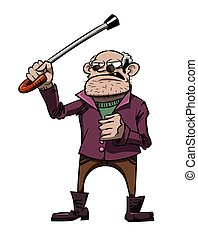 Cartoon image of mean old man