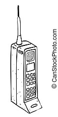 Cartoon image of mobile phone. An artistic freehand picture.