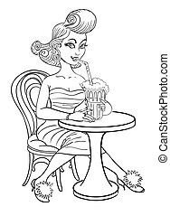 Cartoon image of pin up painting of a retro 1950s woman drinking