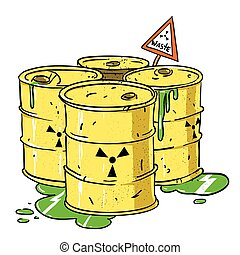 Cartoon image of radioactive waste. An artistic freehand...