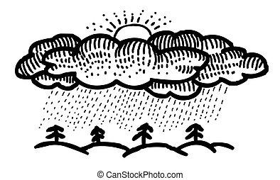 Cartoon image of Rain Icon. Rainfall symbol. An artistic...