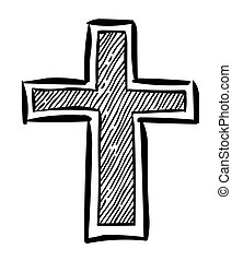 Cartoon image of Religion Cross Icon in flat style