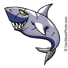 Cartoon image of shark. An artistic freehand picture.