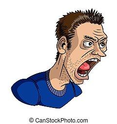 Cartoon image of shouting man