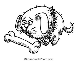 Cartoon image of small fat dog. An artistic freehand...