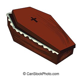 Cartoon image of spooky coffin. An artistic freehand picture.