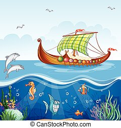 Cartoon image of the water world with merchant ships Viking...