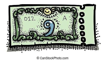 Cartoon image of Ticket Icon. Raffle symbol