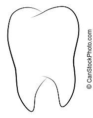 Cartoon image of Tooth Icon. Dentistry symbol