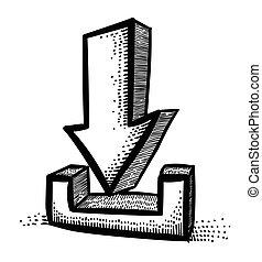 Cartoon image of Torrent Icon. Arrow symbol. An artistic...