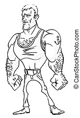 Cartoon image of tough man
