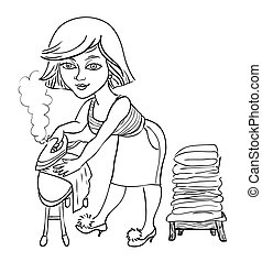Cartoon image of woman ironing