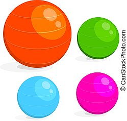 Cartoon image set of the ball for fitness. Colorful drawing of sports equipment fitball on a white background. Vector illustration