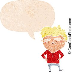 cartoon impatient man and speech bubble in retro textured ...