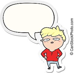 cartoon impatient man and speech bubble sticker - cartoon ...
