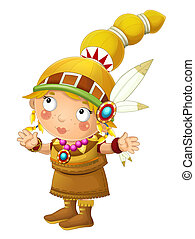Cartoon indian character - isolated on white background - illustration for children