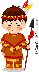 Cartoon Indian. Cute little kid in costume. Vector flat...