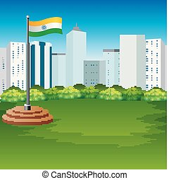 Cartoon Indian flag fluttering with urban background