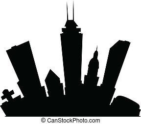 Cartoon Indianapolis - Cartoon skyline silhouette of the ...