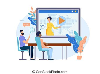 cartoon., informativo, aviador, comunicación video
