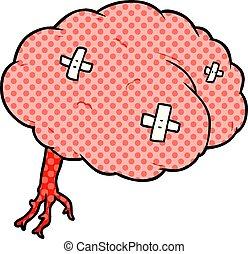 cartoon injured brain