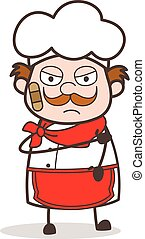 Cartoon Injured Chef Face with Bandage Vector