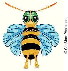 Cartoon insect bee on white background is insulated