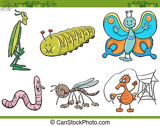 cartoon insect characters set