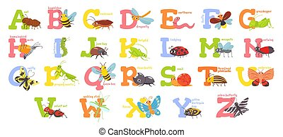 Cartoon insects alphabet. Funny bug letters, comic insect abc for kids and cute bugs vector illustration set. Educational english alphabet with colorful cartoon characters. Primary school education
