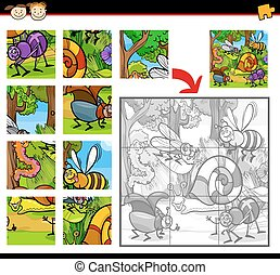 Cartoon Illustration of Education Jigsaw Puzzle Game for Preschool Children with Insects Animals Characters Group