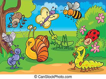 cartoon illustration of funny insects on the meadow