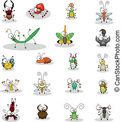 Some cartoon insects (a butterfly, a fly, a lantern fly, caterpillars, a stag beetle, a doodlebug, ant lions, a mole cricket, a stick insect, a cockroach, spiders, a cricket, beetles, a scorpion).