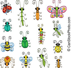 Some cartoon insects (an ant, a stick insect, a butterfly, a bee, a spider, a wasp, a mantis, a caterpillar, a gnat, ladybugs and bugs).